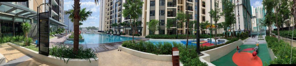 Một góc nhỏ khu vực tầng 5, hồ bơi và công viên CENTROSA GARDEN QUẬN 10