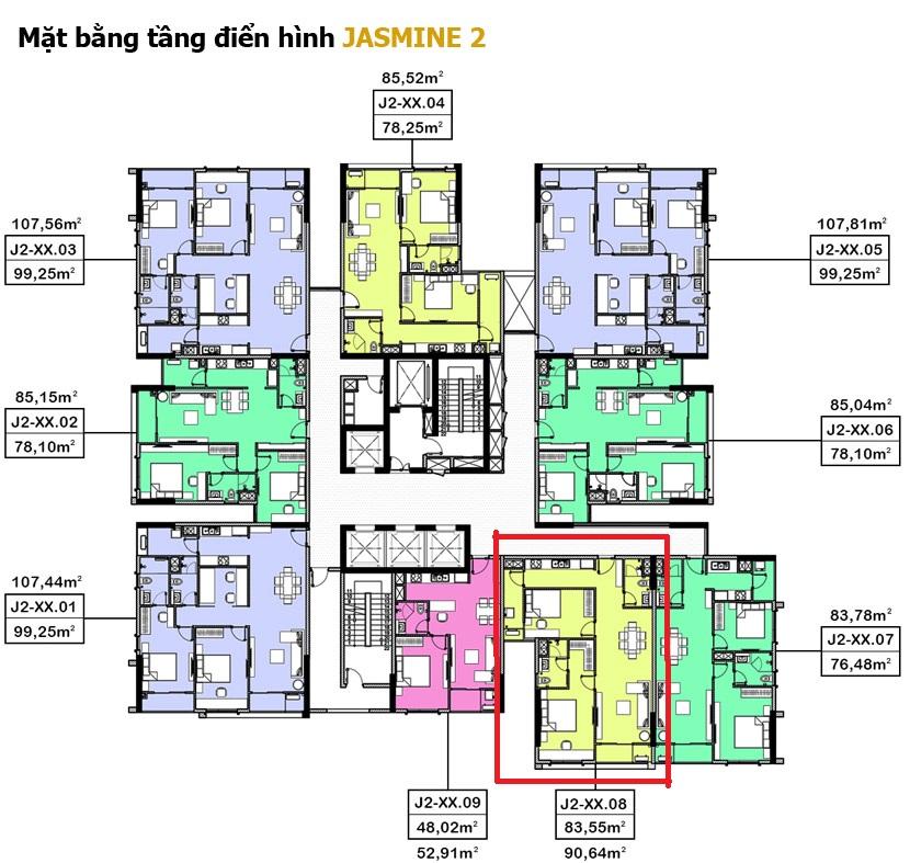mặt bằng tầng điền hiền toà nhà Jasmine 2