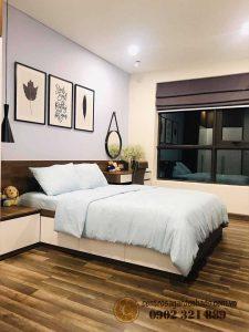 giường ngủ tại căn hộ 107m2 hado centrosa garden