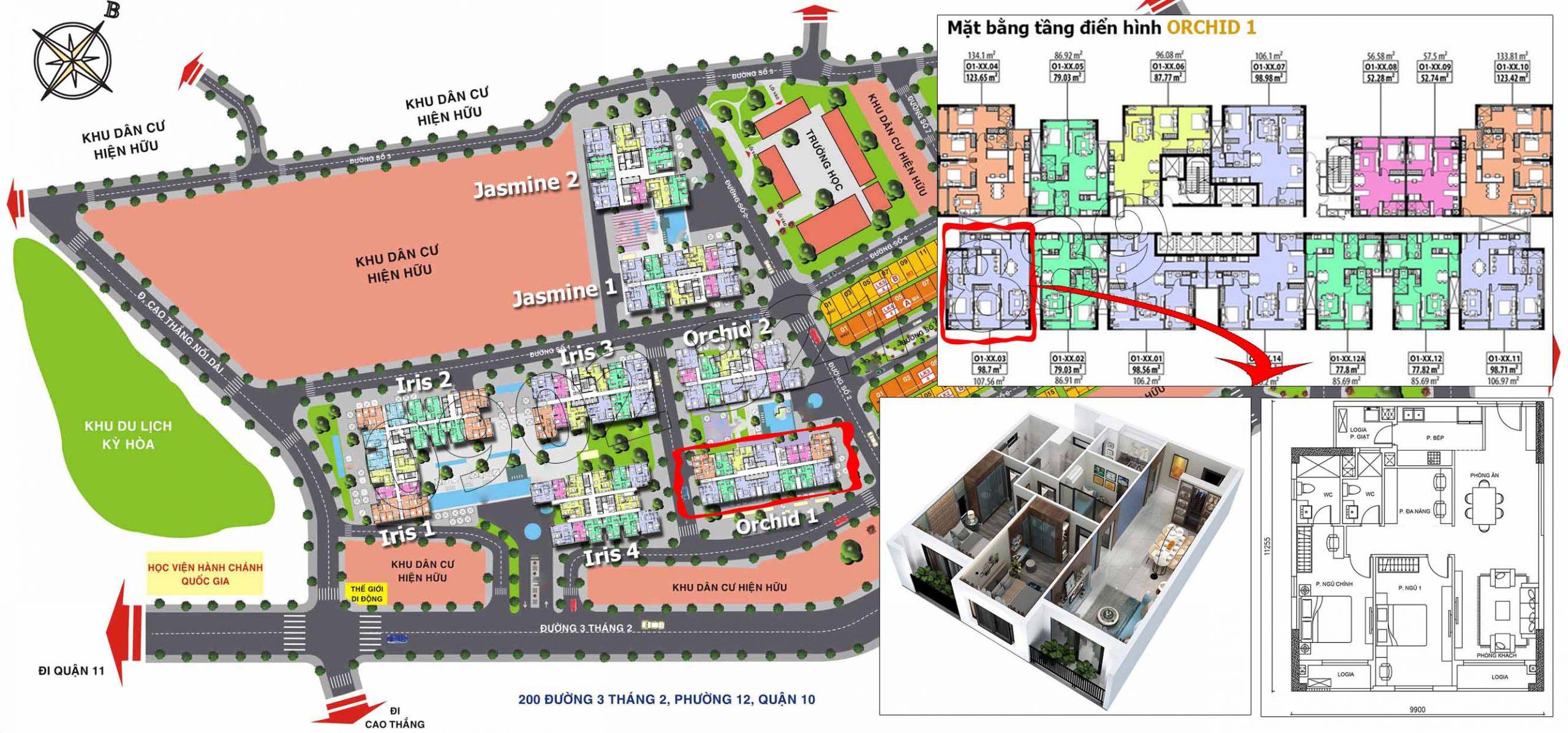 Căn hộ 107m2 với thiết kế 2 phòng ngủ, 2 WC, 1 phòng đa năng tại tòa Orchid 1.