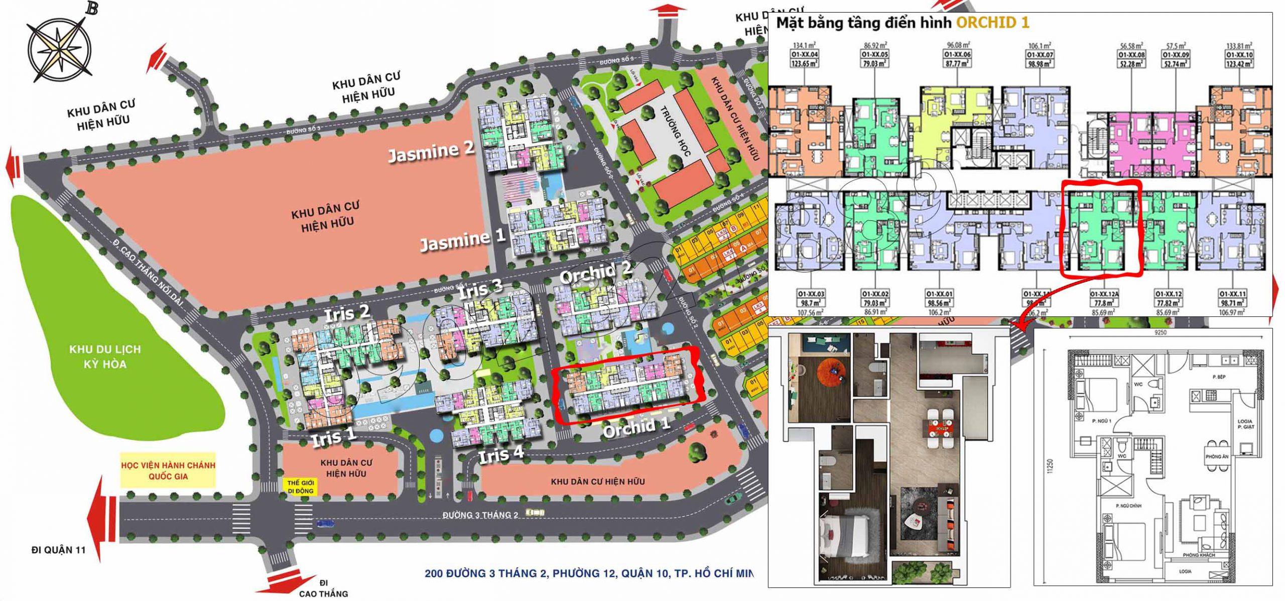 Vị trí căn hộ 12A diện tích 85m2 tại tòa Orchid 1 - Hado Centrosa Garden