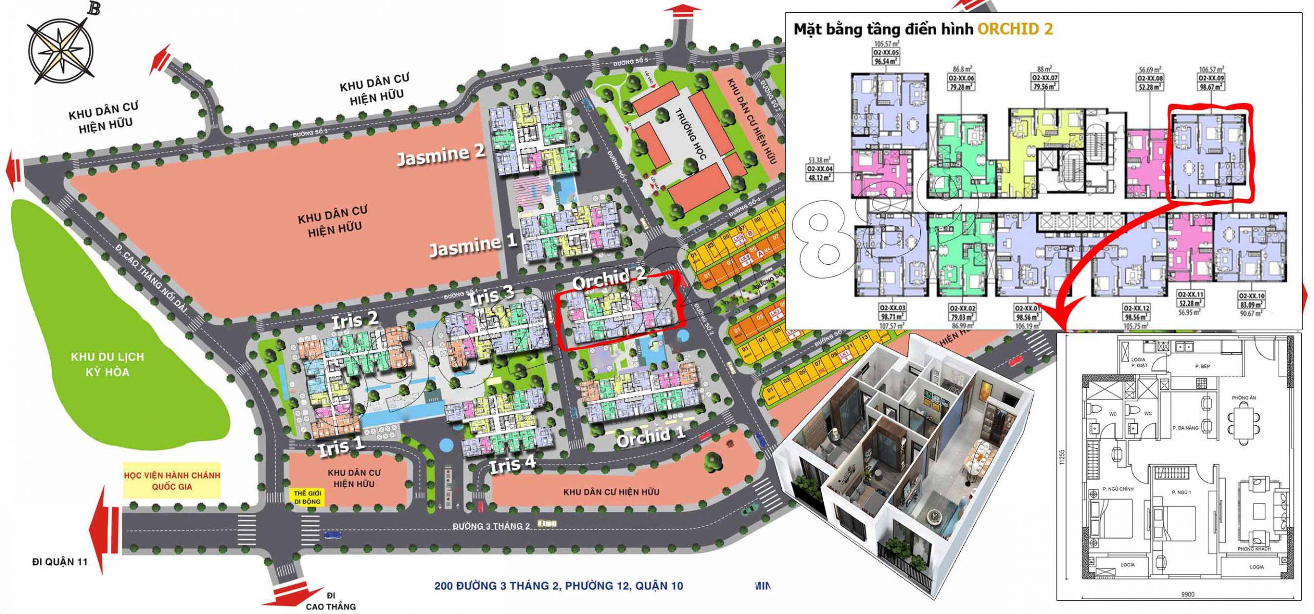 Căn hộ 09 tại tòa Orchid 2, diện tích 106m2 thiết kế 2 phòng ngủ plus