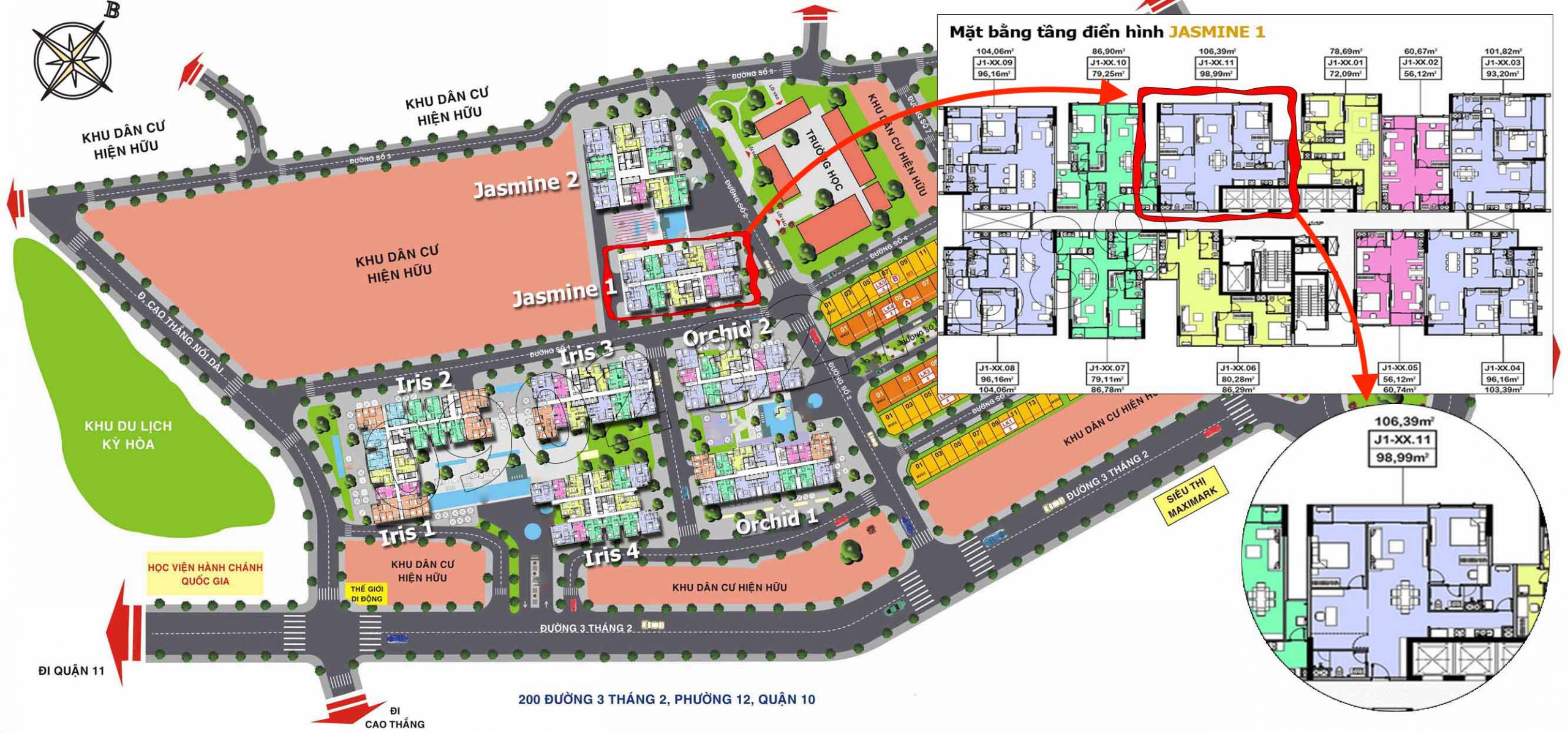 Vị trí căn hộ Hado Centrosa Garden cho thuê tòa Jasmine 1 (căn 11), diện tích 106m2.
