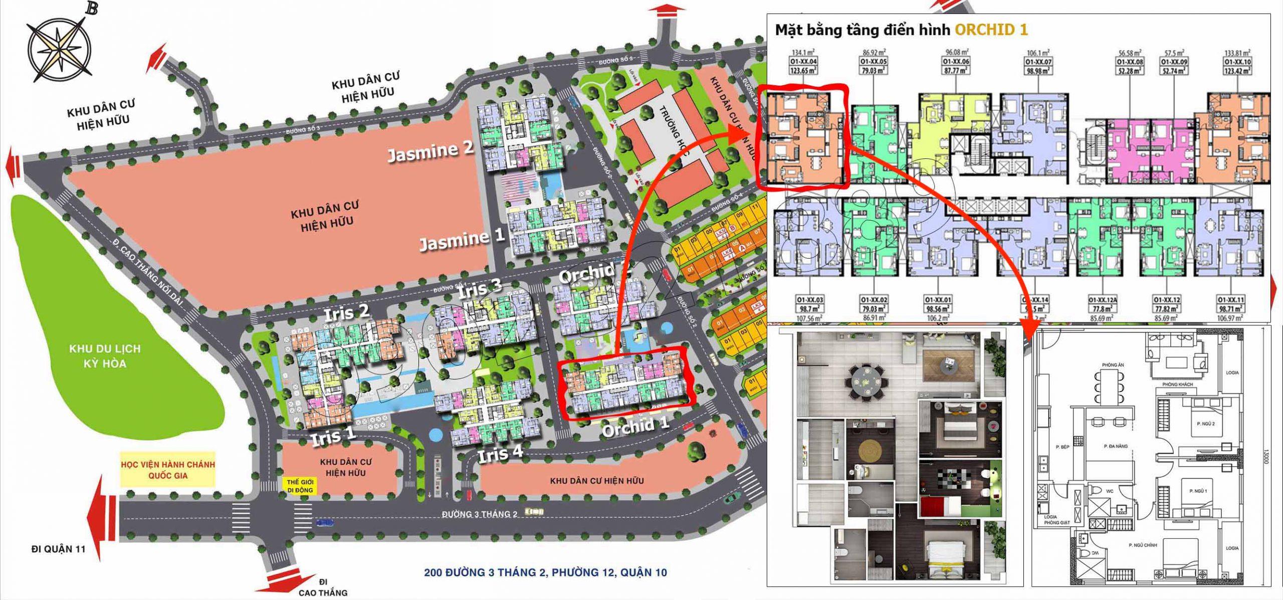Vị trí căn hộ 3 phòng ngủ Hado Centrosa Garden (tòa Orchid 1) cho thuê.