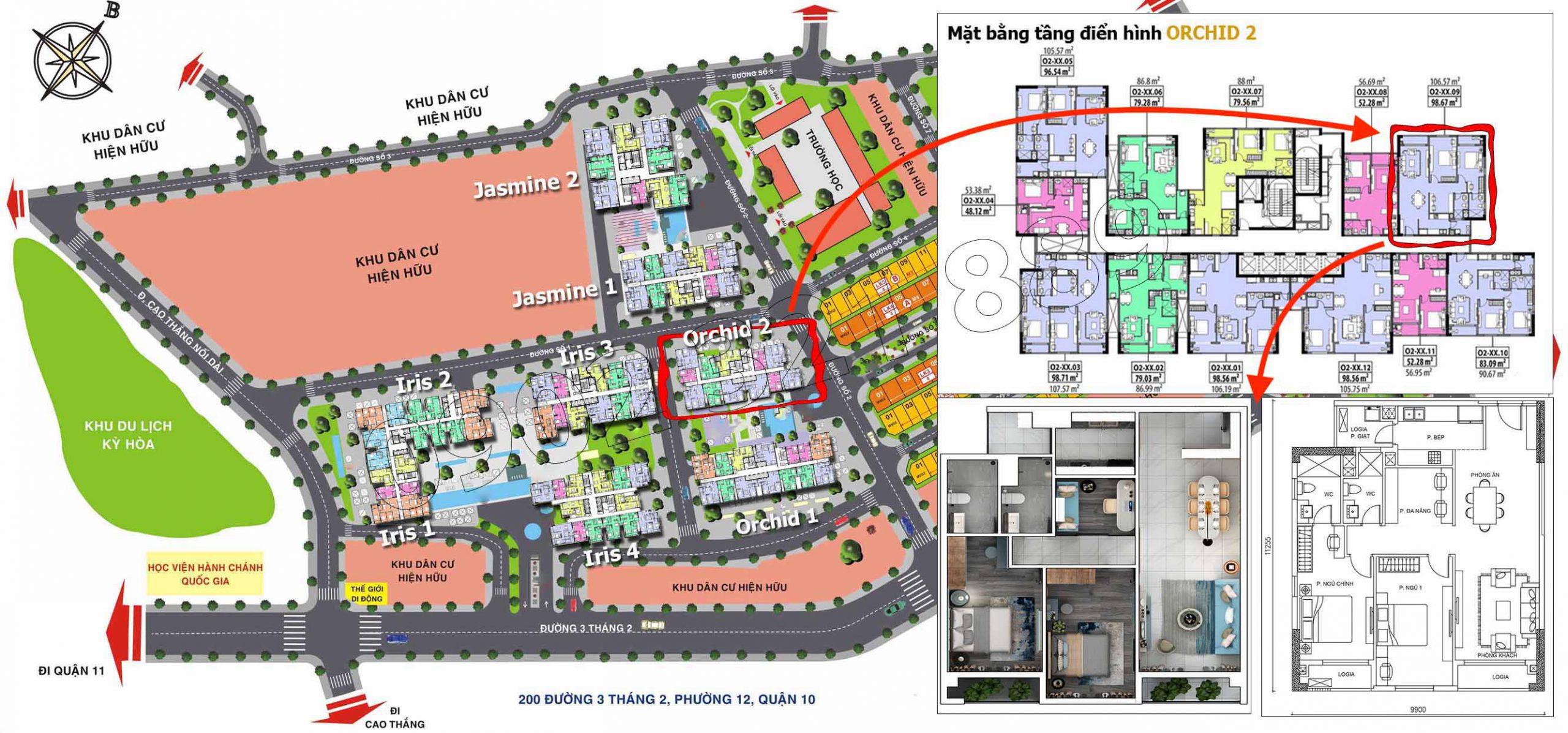 Vị trí căn hộ Hado Centrosa tòa Orchid 2 (căn 09), diện tích 106m2 thiết kế 2 phòng ngủ plus.