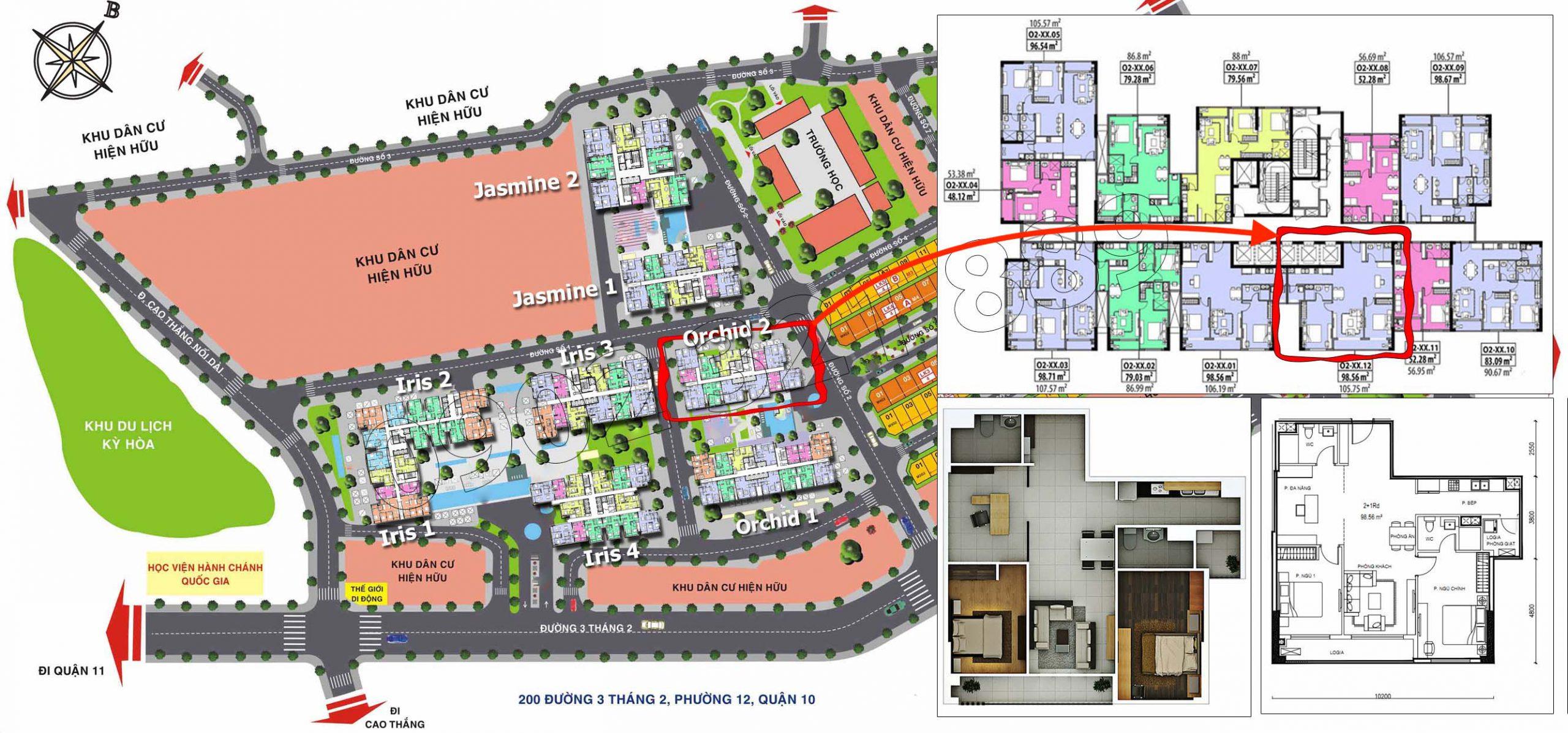 Vị trí căn hộ 2 phòng ngủ plus cho thuê tại Hado Centrosa Garden tòa Orchid 2.