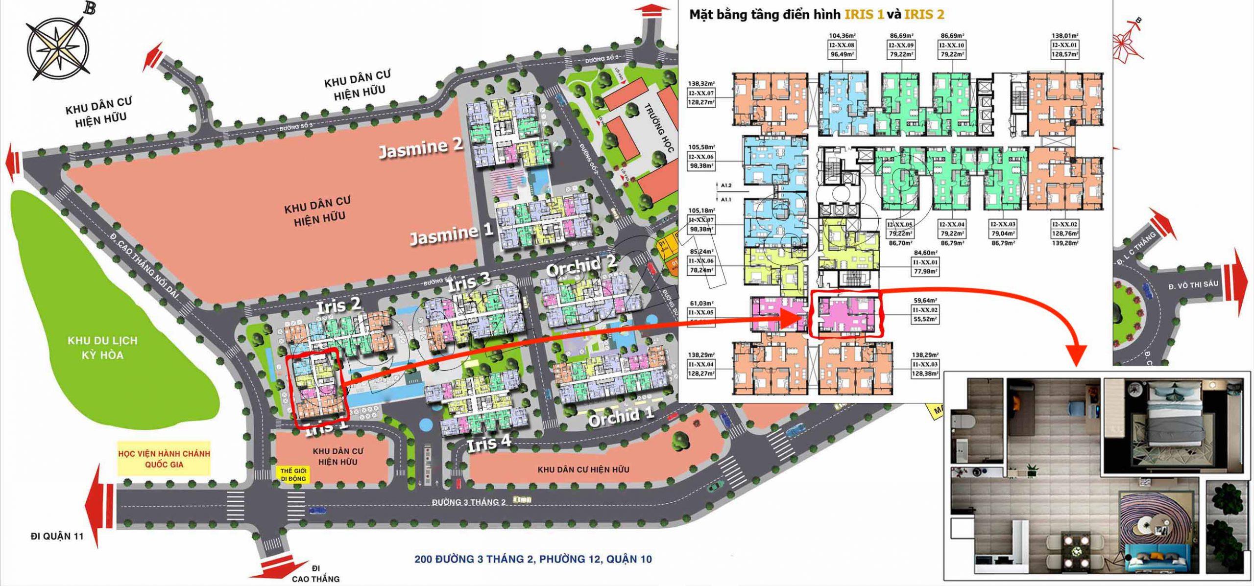 Vị trí căn hộ Hado Centrosa Garden (1 phòng ngủ lớn) tại tòa Iris 1 cần cho thuê.