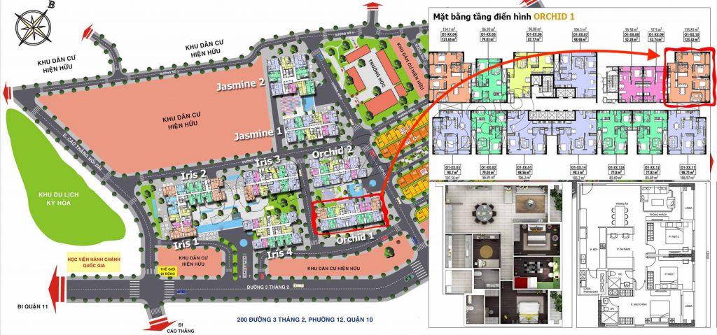 Vị trí căn hộ số 10 (diện tích 133m2 - 3PN+) thuộc tòa Orchid 1 dự án Hado Centrosagarden cần chuyển nhượng.